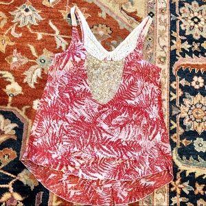 Red/white print, gold sequin tank, crochet back